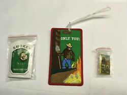 3pc New Smokey Bear Luggage Tag Pin Lapel Prevent Forest Fires