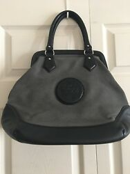 Bimba & Lola Gray Canvas WBlack Leather Trim Shoulder Bag Tote $39.98