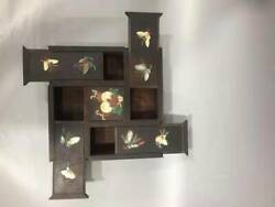 Chinese Wood Inlay Shell Conch Butterfly Pumpkin Combined Cabinet Jewel Case Box