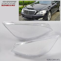 Pair Fit For Mercedes S W221 Headlight Glass Headlamp Lens Plastic Cover