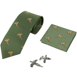 Jack Pyke Tie, Hanky And Cufflinks Gift Set Pheasant Country Mens Hunting Green