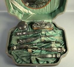 Antique Vtg Quadruple Silverplate Manicure Travel Vanity Grooming 7 Pc Set Case