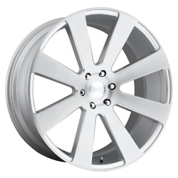 For 4 Dub 1pc 8-ball Gloss Silver Brushed 24x10 Chevy Gm Toyota 6x5.5+20