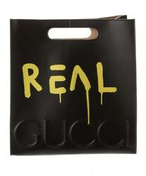 GUCCI Black Real Ghost Graffiti Large Tote Leather Shoulder Bag Limited Edition
