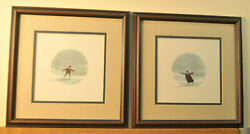 Two P Buckley Moss Framed Limited Edition Prints Skating Girl And Skating Boy