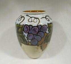 Antique Royal Doulton England Stoneware Vase With Grapes And Vine Leaves Design.