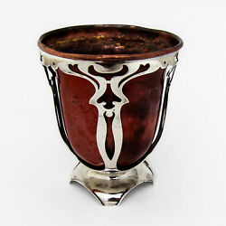Gorham Athenic Footed Cup Cutwork Mixed Metal Sterling Silver