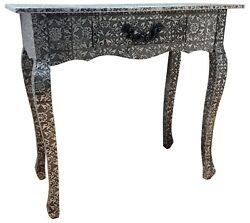 Black And Silver Console Desk Bedroom Table Metal Hammered 1 Drawer Retro Storage