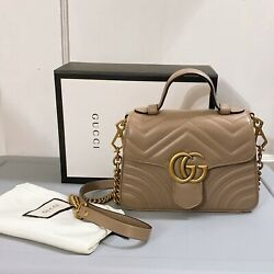 Gg Marmont Mini Top Handle Leather Dusty Rose Gold Hardware