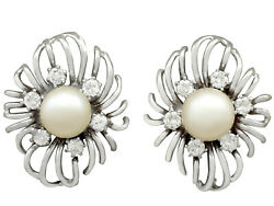 Vintage Cultured Pearl And 0.84ct Diamond 18k White Gold Stud Earrings