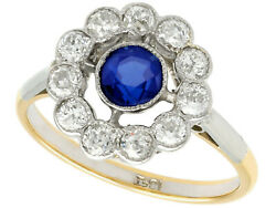 1930s 0.68 Ct Sapphire 0.65 Ct Diamond 18k Yellow Gold Cluster Ring Size 6.75