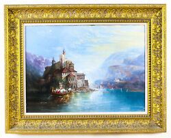 Antique Oil On Canvas Landscape Painting Follower Of Alfred Pollentine 19th Cent