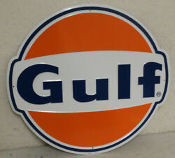 2 Large Vintage Style 24 Gulf Gas Station Signs Man Cave Garage Decor Oil Can
