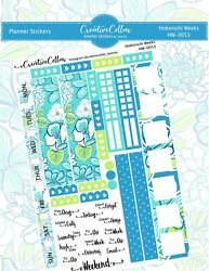 HW 0053 Turquoise and Blue Floral Planner Stickers Fits the Hobonichi Weeks $3.75