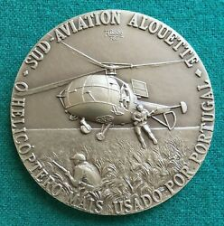 Beautiful Antique And Rare Bronze Medal Of Sud Aviation Alouette Helicopter