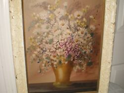 Old Vtg Nelson Signed Original Oil Painting Bouquet Of Flowers In A Vase