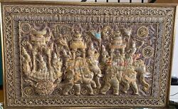 Antique Beautiful Eastern Handmade Wall Tapestry With Tinsels And Stones