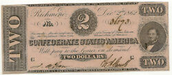1862 2 Csa Confederate T-54 Au About Uncirculated Deep Pink Color Inv593