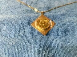 Genuine Us 1910 1/2 Eagle Indian Head Gold Coin Necklace .75/100 Diamonds 18k Yg