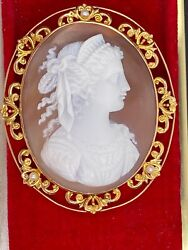 14ky Framed Cameo Shell And Pearl Pin - Pendant