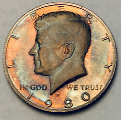 1980-s Kennedy Half Dollar Proof Toned Golden Blue Unc Color Bu Flawless Dr