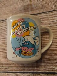 Vintage 80's Smurfs Happy Birthday Coffee Mug Cup Clumsy Smurf Oops Cake 1982
