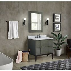 37 Single Vanity In Linen Gray Finish Top With White Carrara And Rectangle Sink