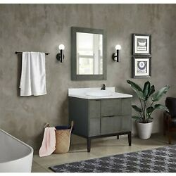 37 Single Vanity In Linen Gray Finish Top With White Quartz And Round Sink