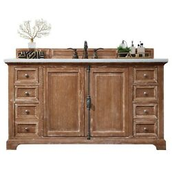 Providence 60 Single Vanity Cabinet Driftwood With 3 Cm Classic White Quar...