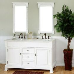 Cambridge Wh 60 In. Double Vanity In White With Marble Vanity Top With White