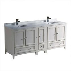 Fresca Oxford 72 Inch Antique White Traditional Double Sink Bathroom Cabinets...