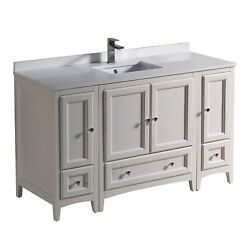 Fresca Oxford 54 Inch Antique White Traditional Bathroom Cabinets W/top And Sink