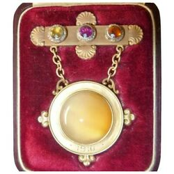 Antique 1910 Revival 'bbb' 14k Gold Agate Rose Cut Diamond Brooch Fitted Box
