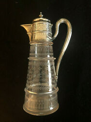 Martin, Hall And Co London England Cir 1876 Sterling Silver Etched Glass Pitcher