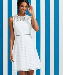 208 New W Tags Vineyard Vines Eyelet Fit And Flare Dress White Cap 0