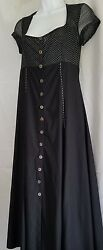 Romyda Keth French Designer A-line Dress Size Large Black And White Cap Sleeves
