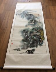 Large Signed Chinese Scroll Painting Of Qingyin Pavilion On Mount Emei