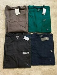 Mens T-shirts Lot Of 4 Abercrombie Guess Hollister Multicolor Size M Brand New