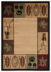 Deer Buck Bear Paw Lodge Cabin Southwestern Carved Area Rug Free Shipping