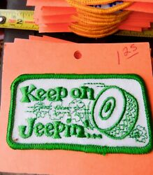 HOLM PATCHES KEEP ON JEEPIN' SEW ON PATCH GREEN & WHITE VINTAGE PATCH