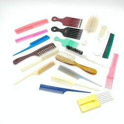 Lot Of 19 Vintage Combs, Picks And Hair Brushes