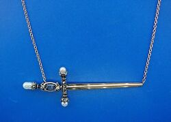 Of Another Time 14k Rose Gold, Silver, Sapphire, Diamond And Pearl Sword Necklace