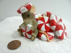 Charming Tails Candy Cane Candleholder Mouse Figurine 93/421 Striped Candy