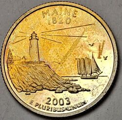 2003-s Maine Proof State Silver Quarter Nicely Color Toned Coin