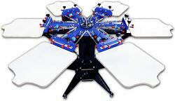 Silk Screen Printing Machine 6 Color 6 Station Micro-ajust Removable Pallet