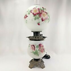 Antique Gone With The Wind Hurricane Oil Lamp Parlor Lamp Electrified Hand Paint