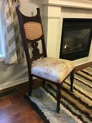 Antique Desk Chair Floral Flower Pink Plaid Cushioned Carved Wood Rollers Dining