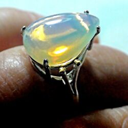 Natural 6.50 Ct Milk White Ethiopian Opal Ring 925 Sterling Silver.size 8.0