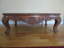 Coffee Table Swivel End Table Chippendale Vintage Cherry Inlaid Marble Round