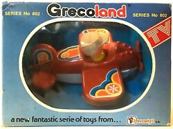 Vintage Grecostyl Jean Hoefler Grecoland No802 Airplane Plastic Toy New In Box